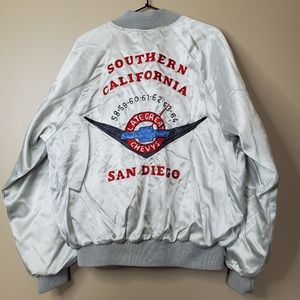Vintage Late Great Chevys Silver Bomber Jacket